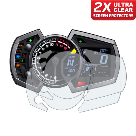Speedo Angels Dashboard Screen Protectors For Kawasaki Ninja 650 2017+ / Ninja 250/400 2018+ / Ninja 1000 2017+ / Versys X-300 2017+ / Z1000sx 2017+ (2xultraclear)
