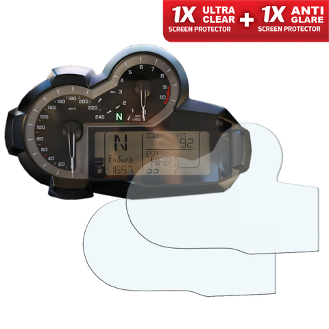 Speedo Angels Dashboard Screen Protectors for BMW R1200GS 2013+ (1xUltraclear + 1xAntiglare) (SABM411)