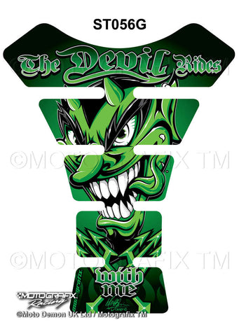 Motographix Devil Rides With Me Green Motorcycle Tank Pad Protector