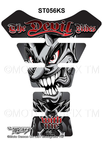 Motographix Devil Rides With Me Silver/Black Motorcycle Tank Pad Protector