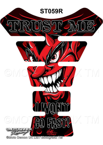 Motographix Trust Me I Wont Go Fast Devil Red Motorcycle Tank Pad