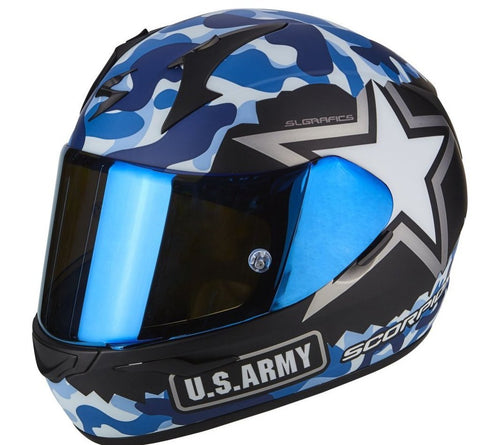 Scorpion Exo-390 Army Matt Black-Blue (39-251-158)