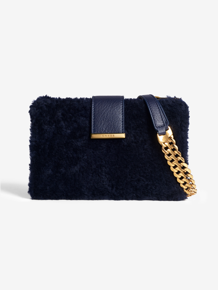 Navy Shearling Concertina Bag
