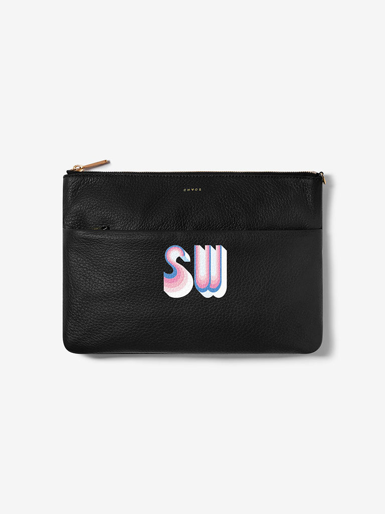 Stripe Font Leather Clutch Bag