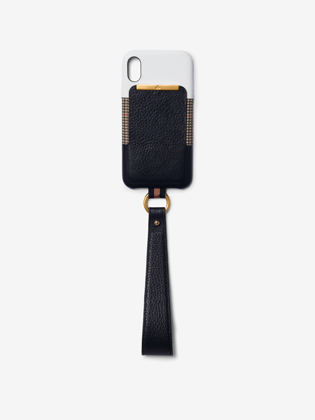 Card Holder iPhone Case - Black & White Leather with Houndstooth Nylon