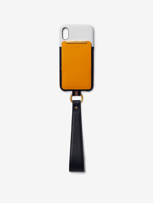 Card Holder iPhone Case -  Black & White Leather with Yellow Canvas