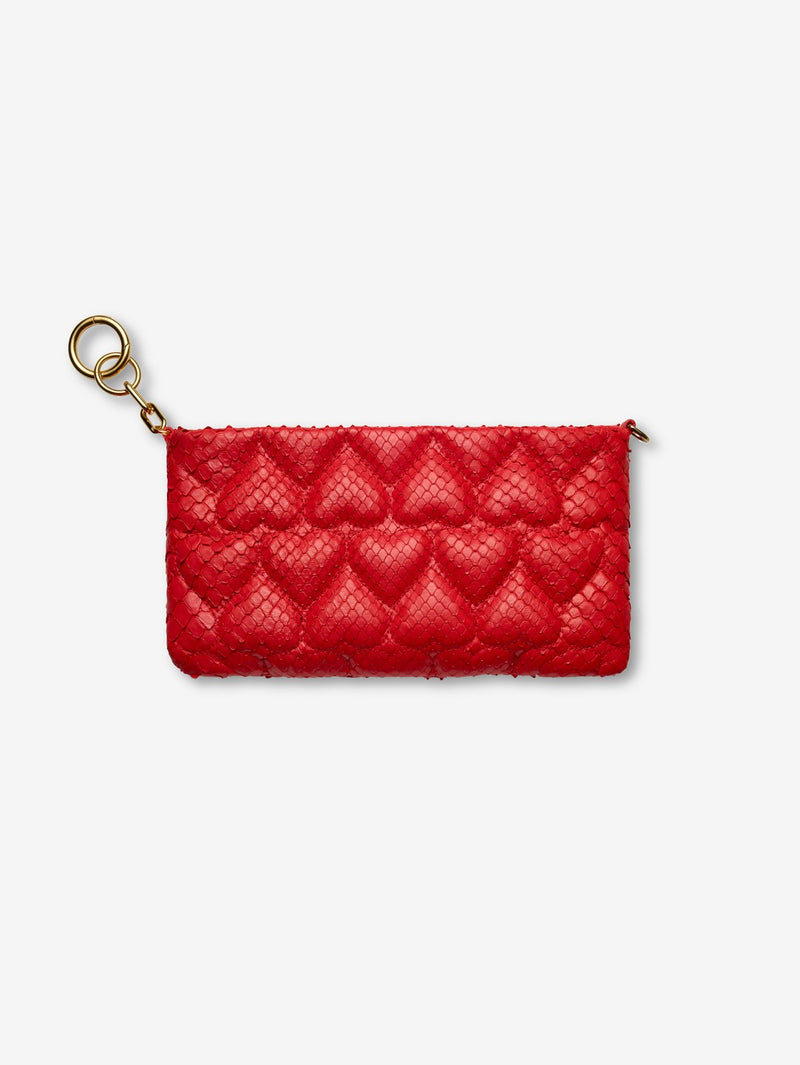 Quilted Heart Python Mini Bag