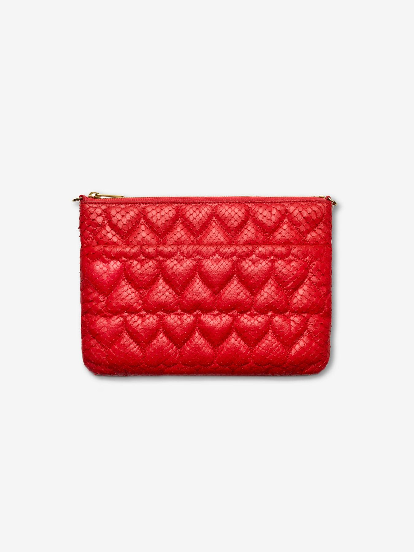 Quilted Heart Python Clutch Bag