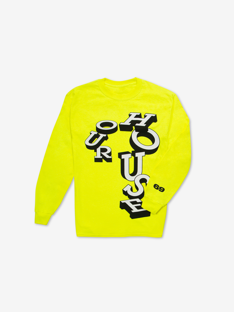 Chaos SixtyNine Neon Yellow 'Our House' Long Sleeved T-shirt