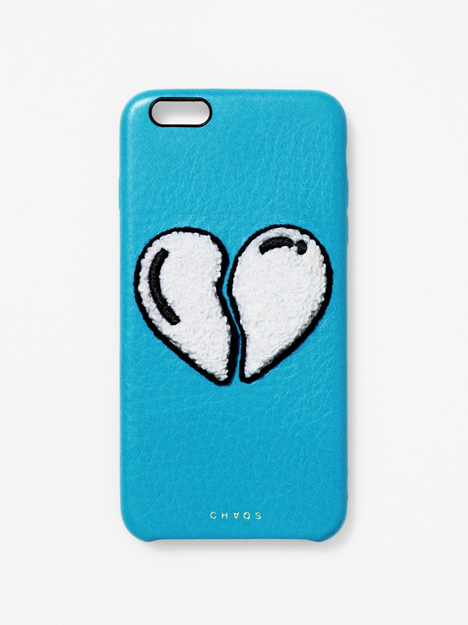 Embroidered Broken Heart Leather iPhone Case Blue