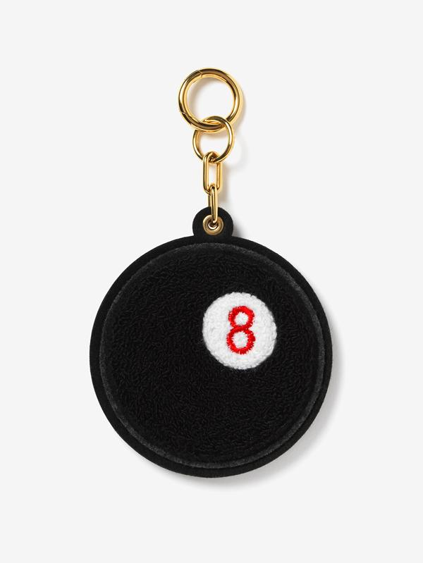 Chenille Black 8-Ball Bag Charm