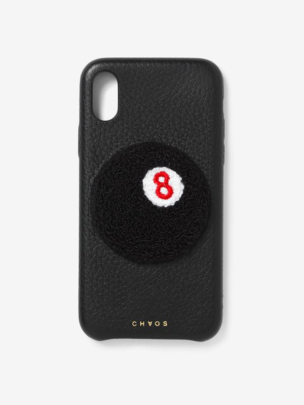 Embroidered Black 8-Ball Leather iPhone Case Black