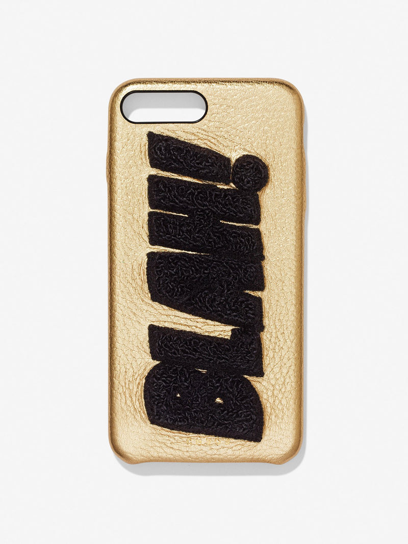 Embroidered Metallic BLAH! Leather iPhone Case Gold