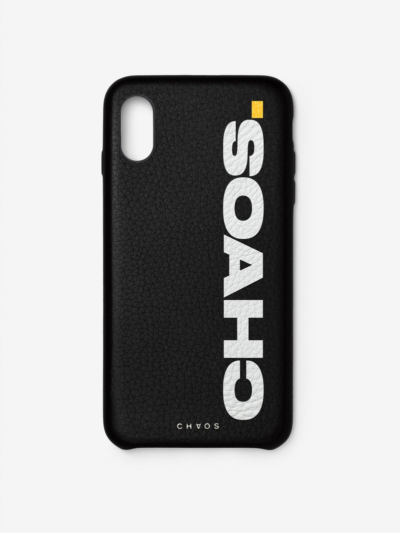 Block CHAOS. Black Leather iPhone Case