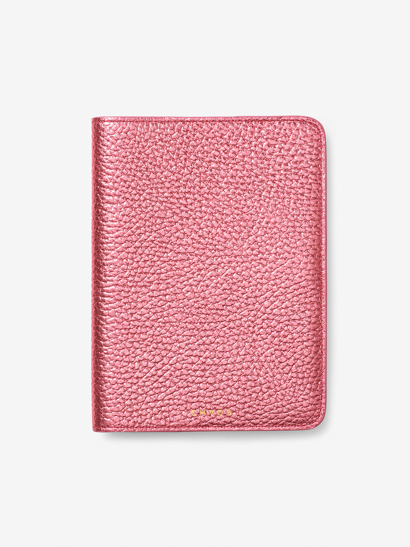 Metallic Leather Passport Holder Blush