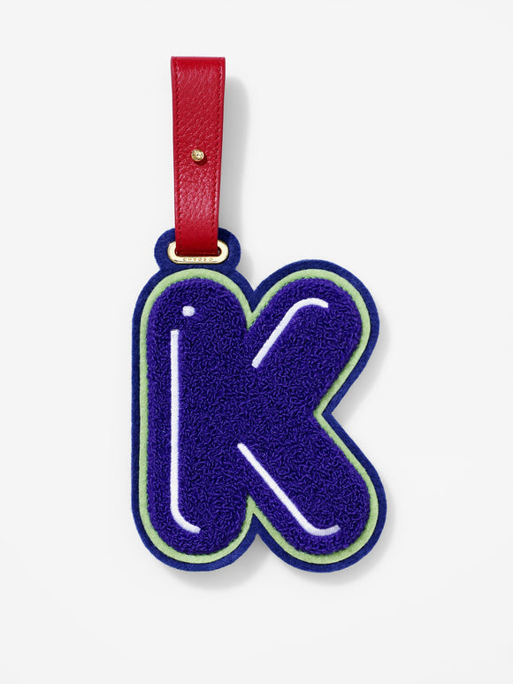 Chenille Letter K Bag & Luggage Teddy Tag