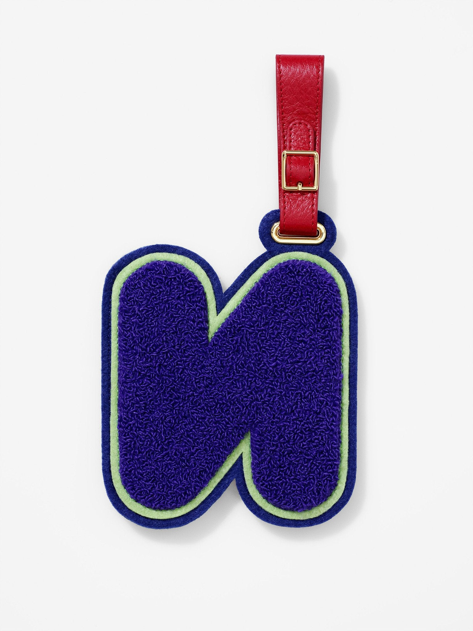 Chenille Letter N Luggage Tag