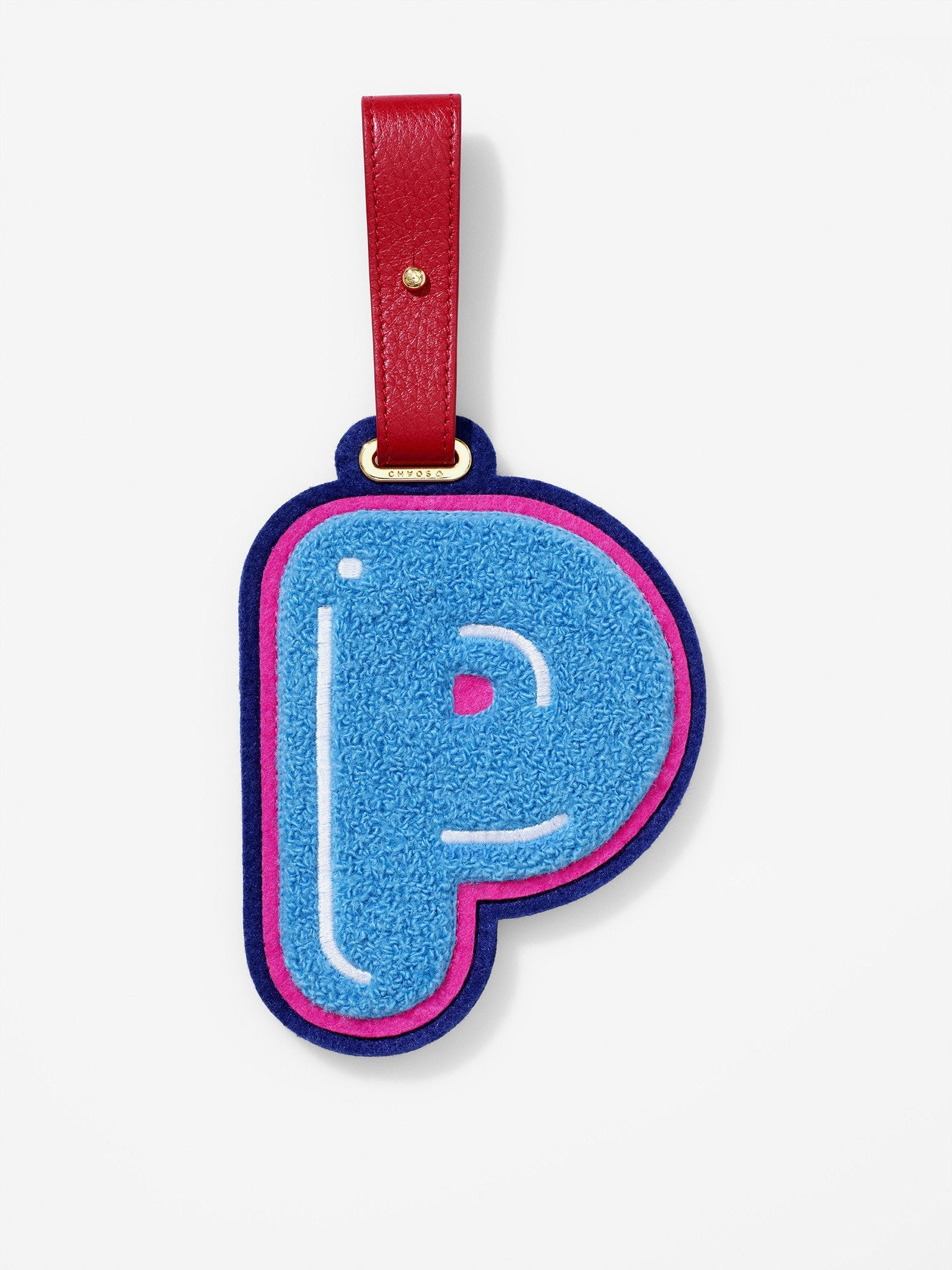 Chenille Letter P Luggage Tag