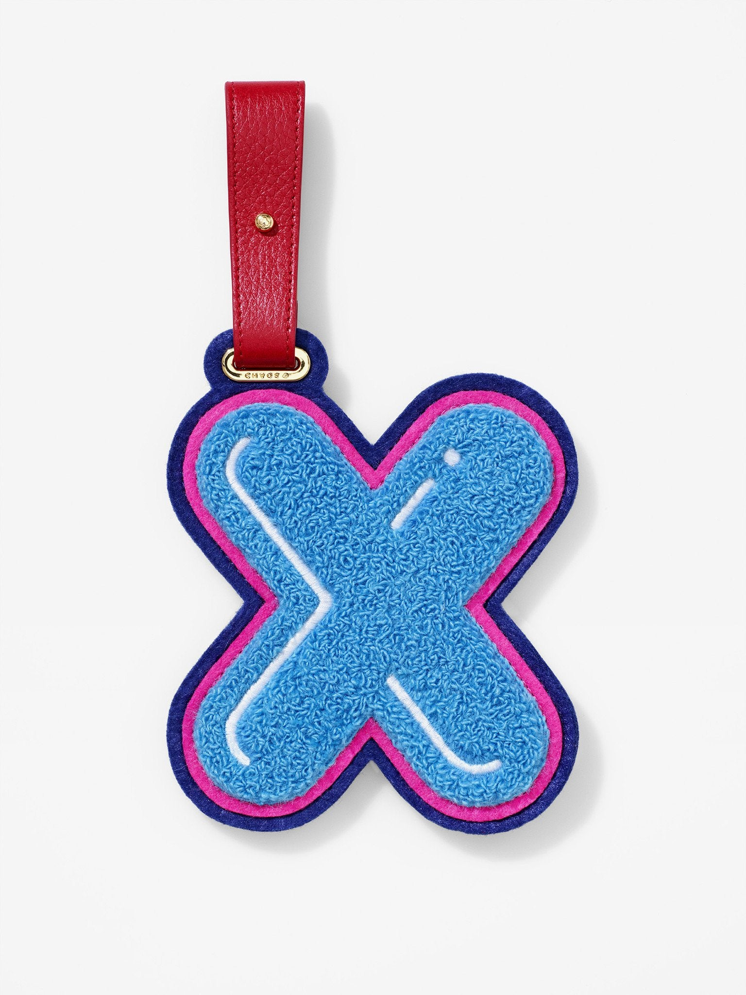 Chenille Letter X Luggage Tag