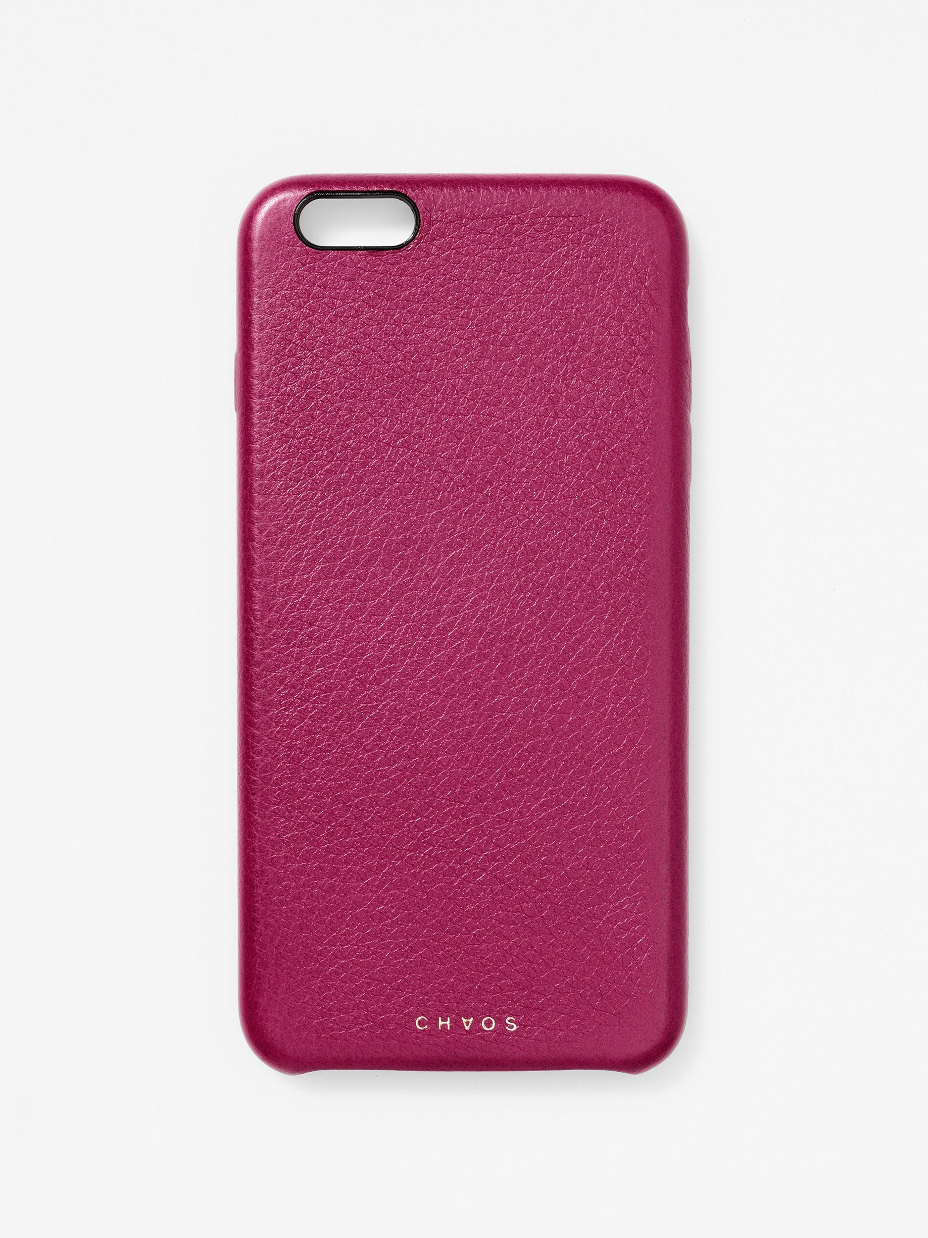 Plain Classic Leather iPhone Case Berry