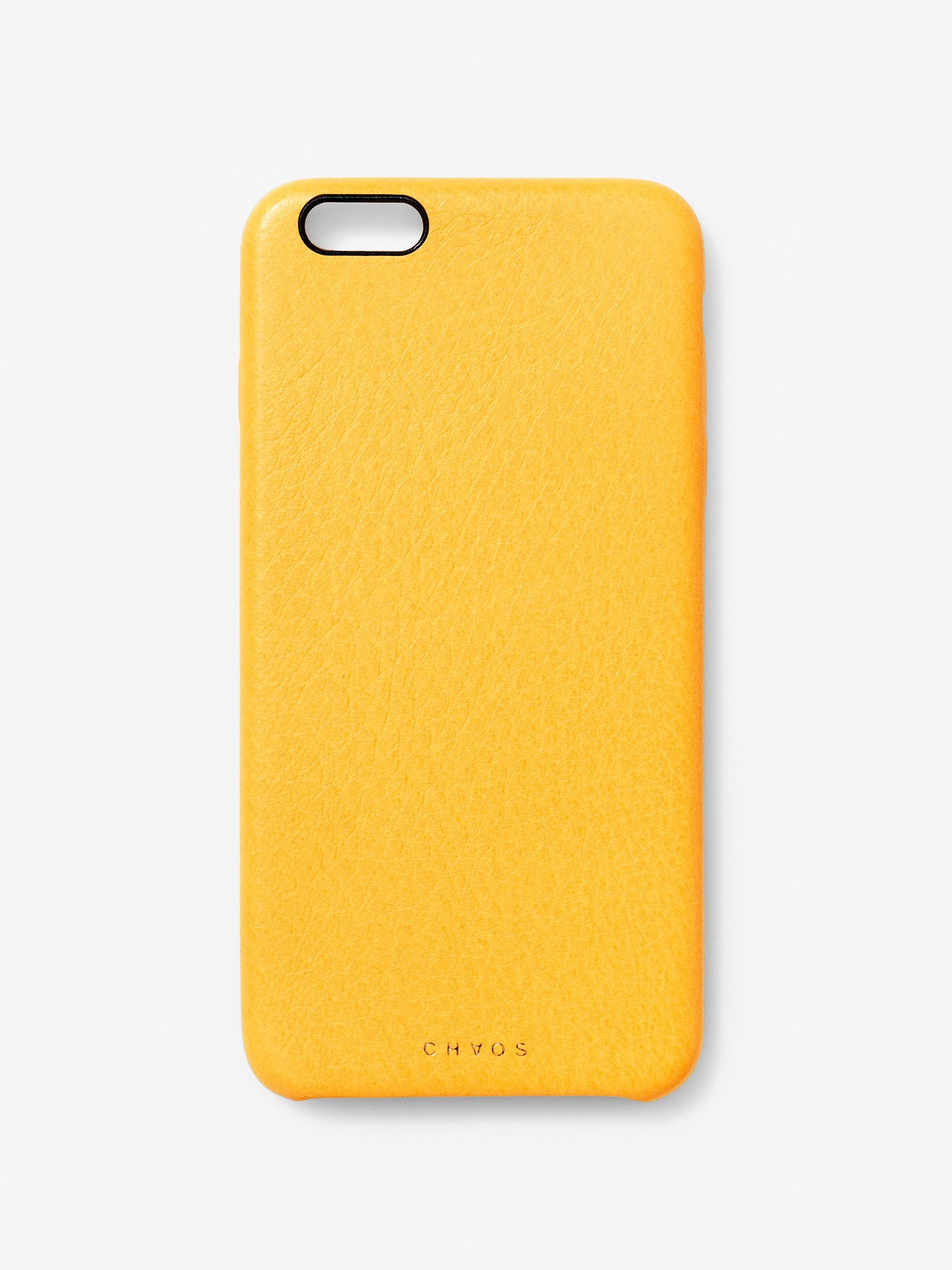 Plain Classic Leather iPhone Case Yellow