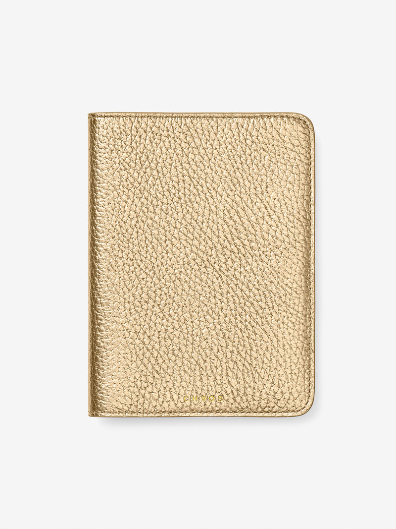 Metallic Leather Passport Holder Gold