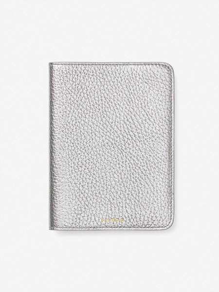 Metallic Leather Passport Holder Silver