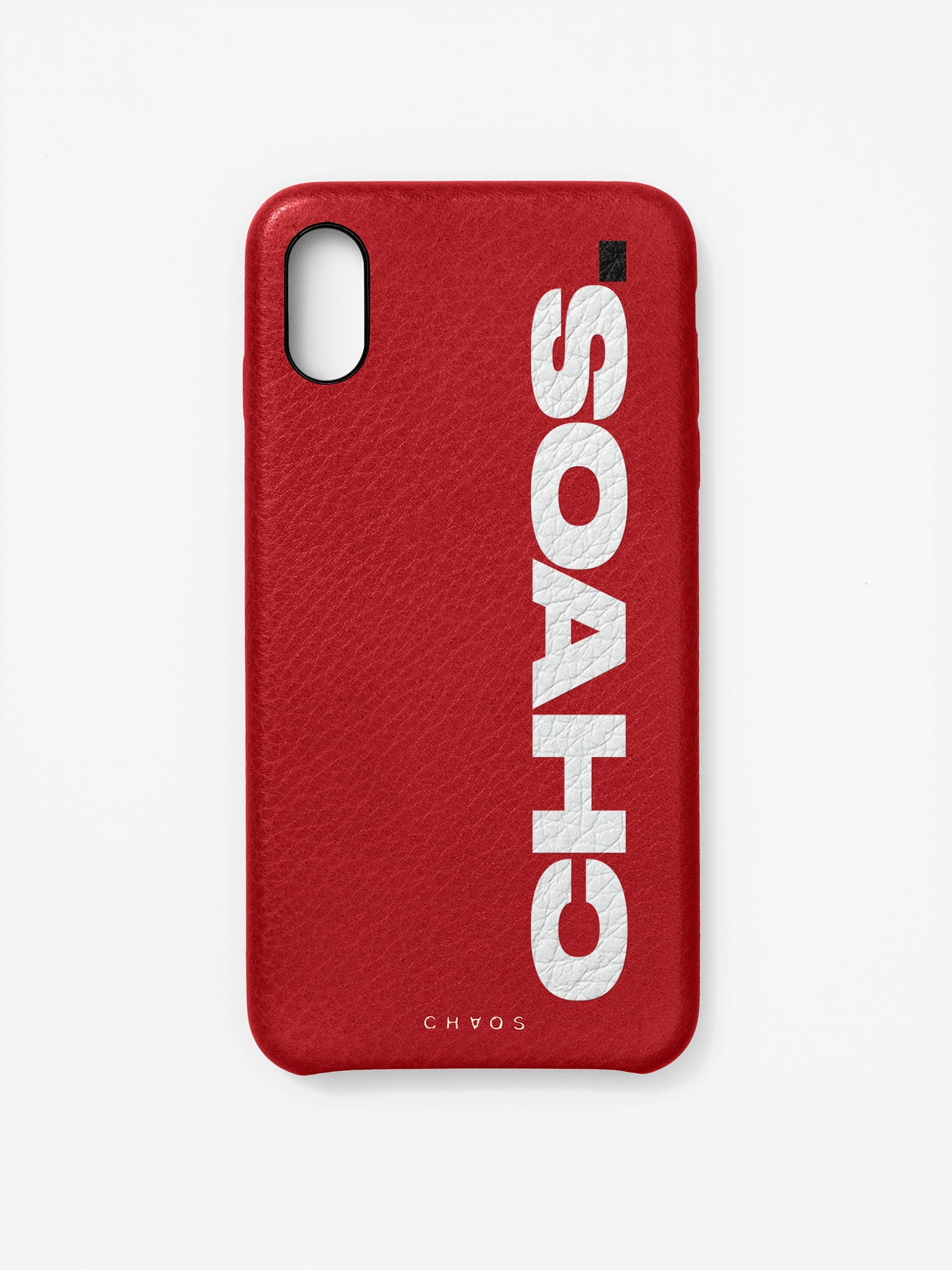 Block CHAOS. Red Leather iPhone Case