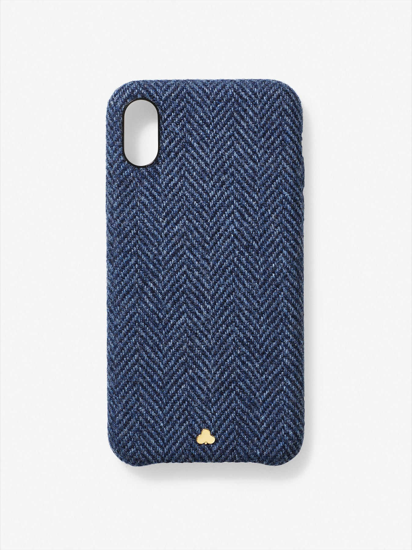 Superfine Wool Herringbone iPhone Case Navy