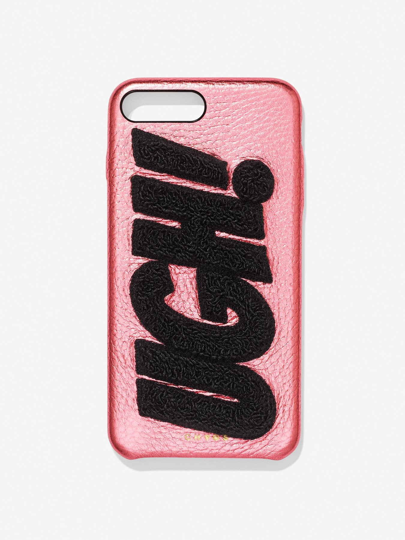 Embroidered Metallic UGH! Leather iPhone Case Blush