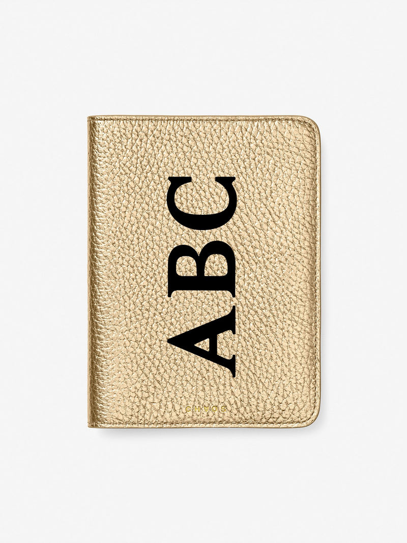 Classic Font Metallic Leather Passport Holder