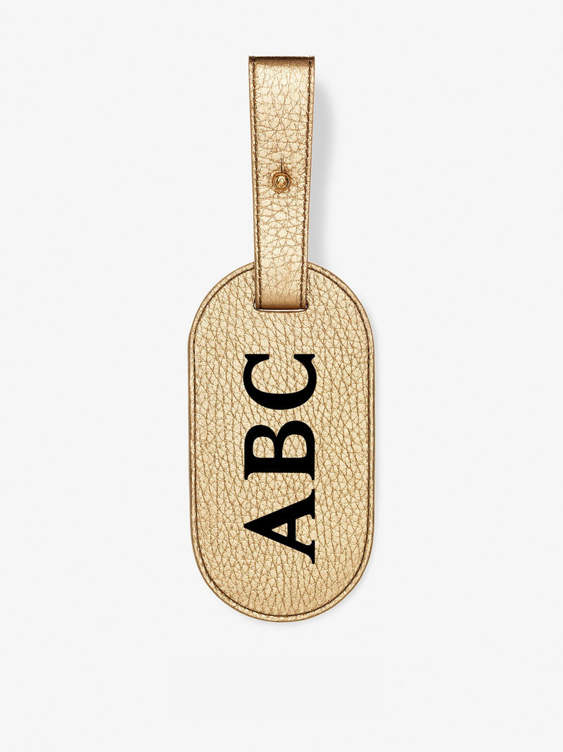 Classic Font Metallic Leather Luggage Tag