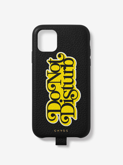 Yellow 'Do Not Disturb' Leather iPhone Case