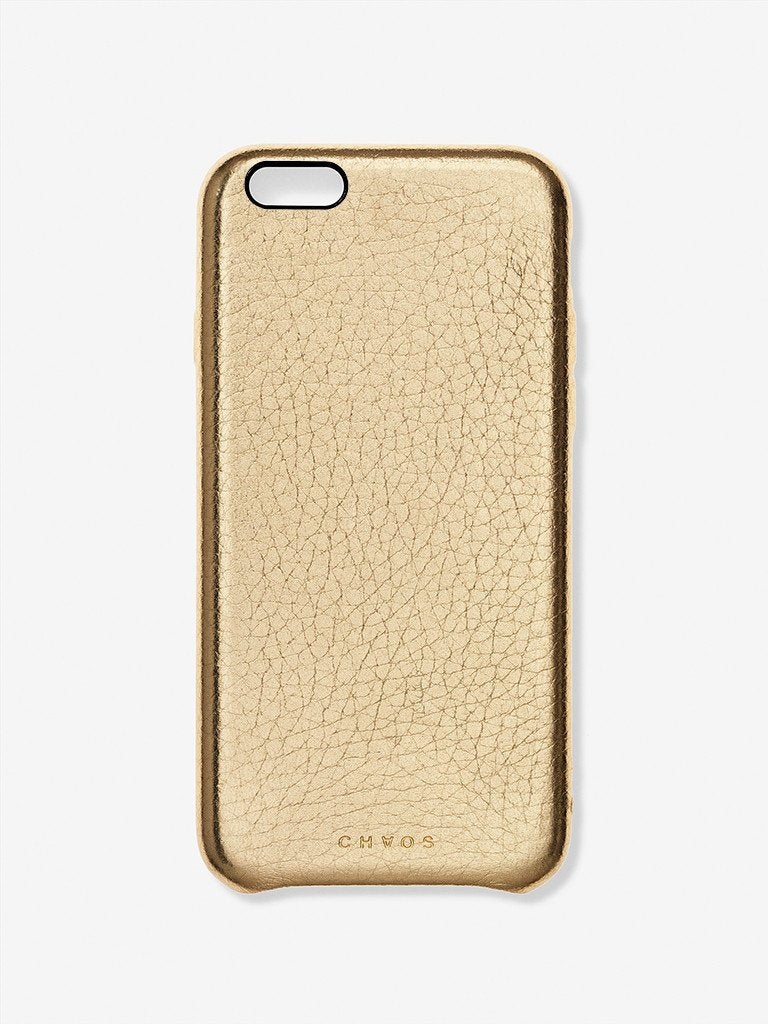Plain Metallic Leather iPhone Case Gold