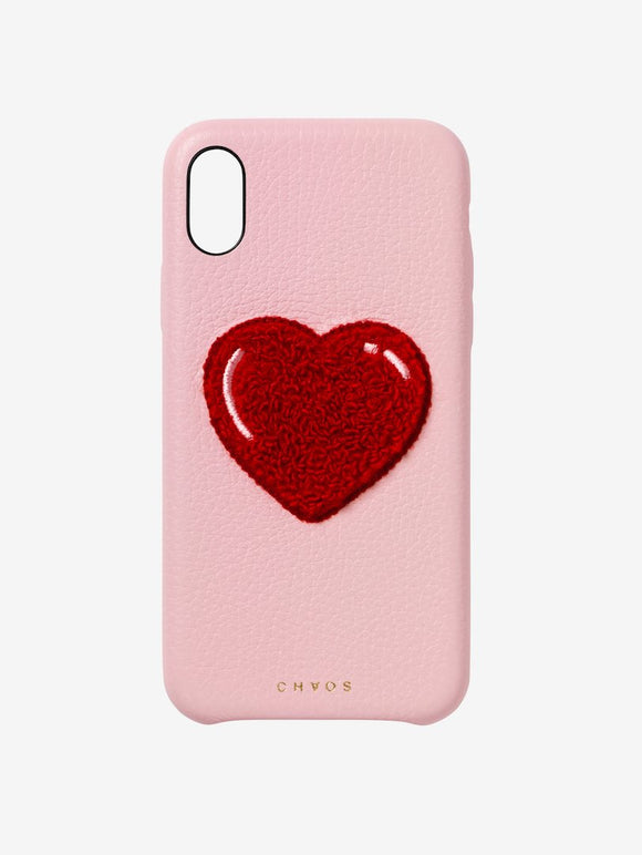 Embroidered Heart Leather iPhone Case Pink