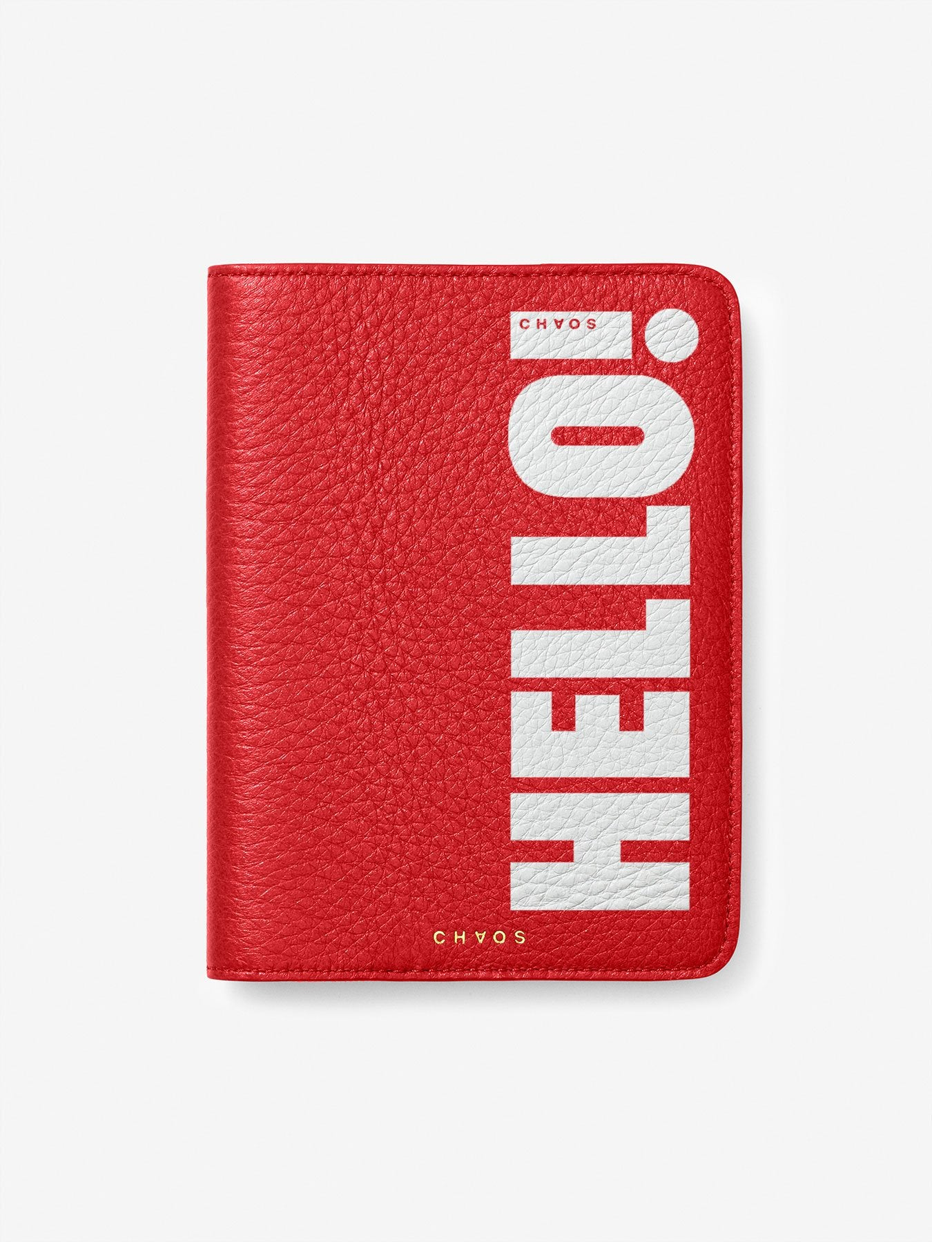 Chaos x Hello! Magazine Leather Passport Cover - Hello Red