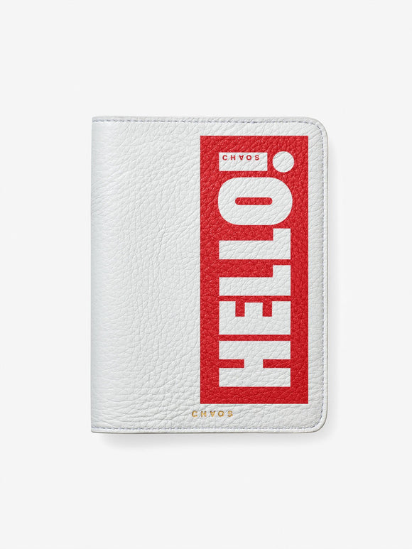 Chaos x Hello! Magazine Leather Passport Cover - Hello White