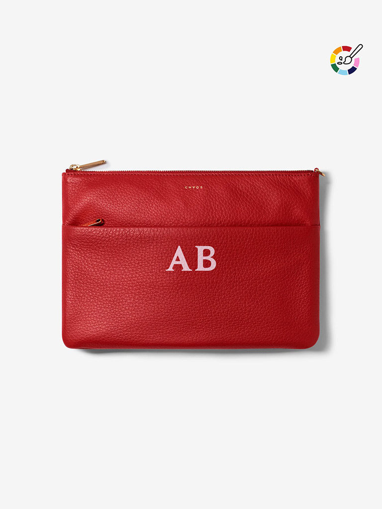 Classic Font Leather Clutch Bag