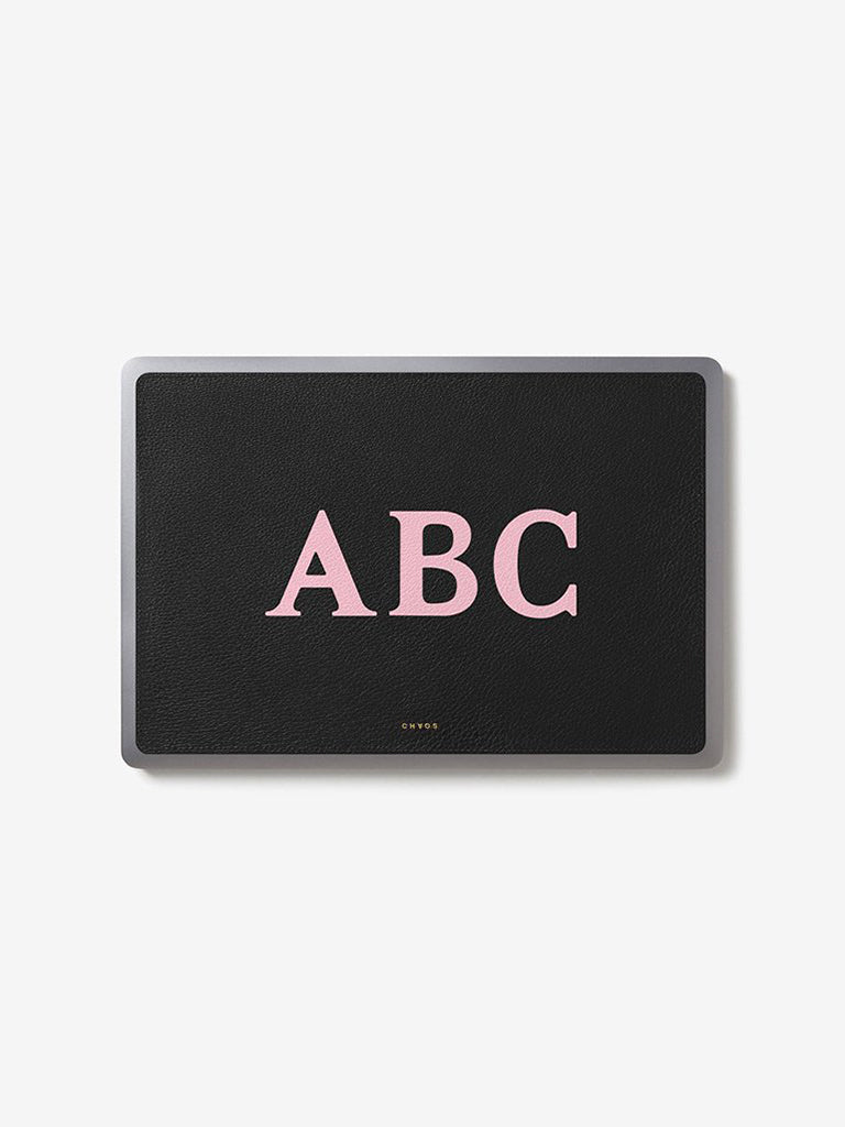 Classic Font Leather Laptop Sticker