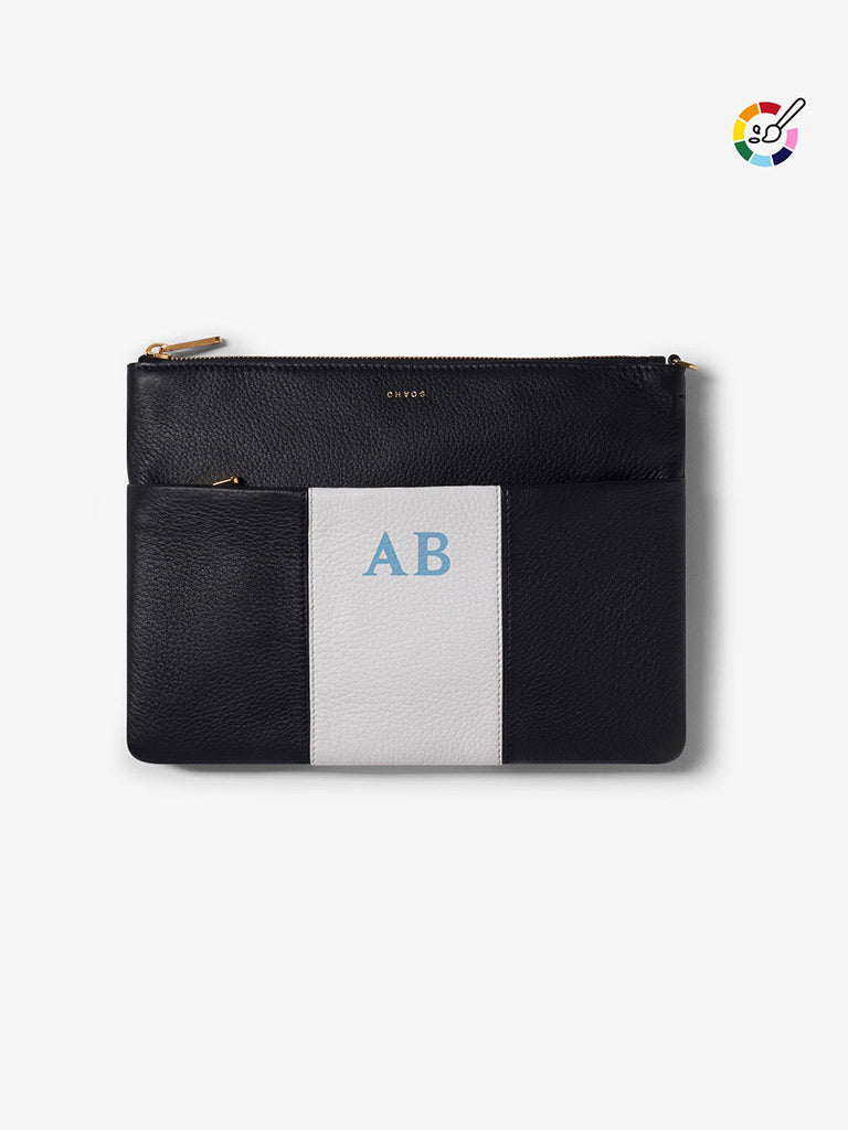 Classic Font Leather Black and White Clutch Bag