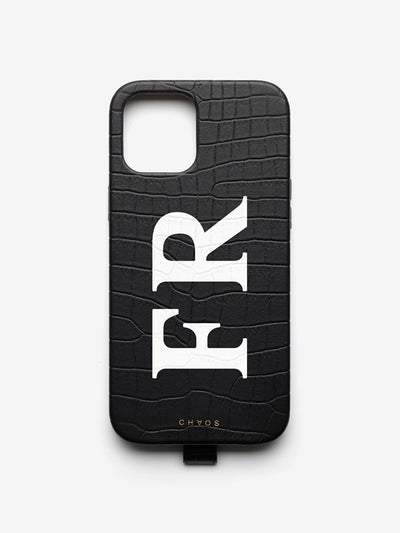 Faux Alligator Classic Font Leather iPhone Case