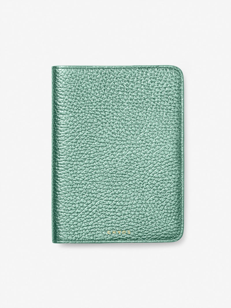 Metallic Leather Passport Holder Mint