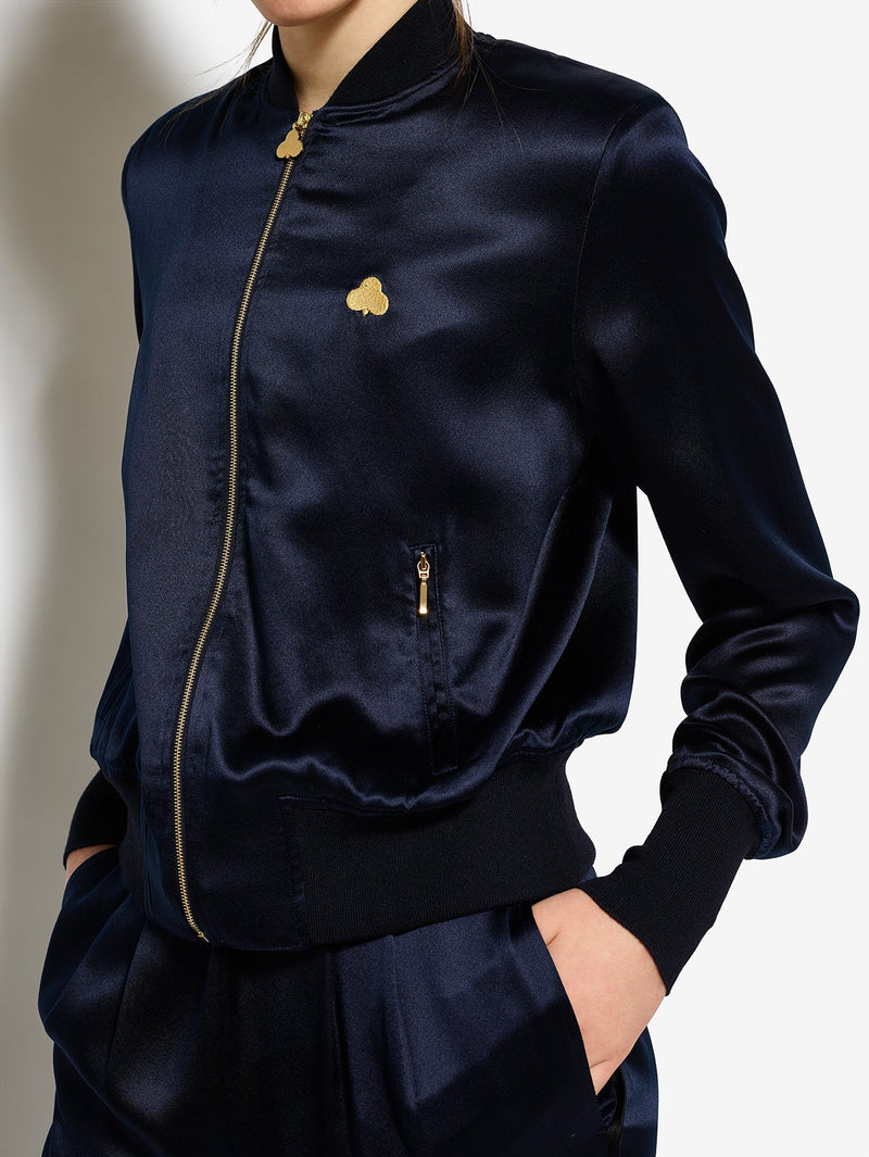 Bruv Club Silk Tracksuit Jacket - Navy