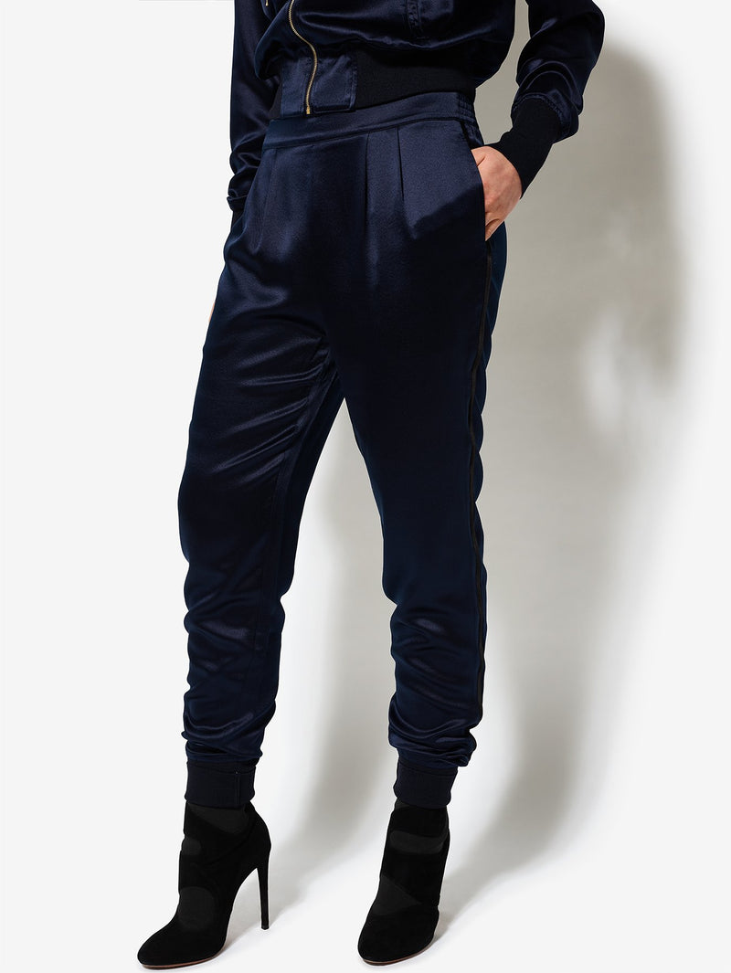 Bruv Club Silk Tracksuit Trousers - Navy