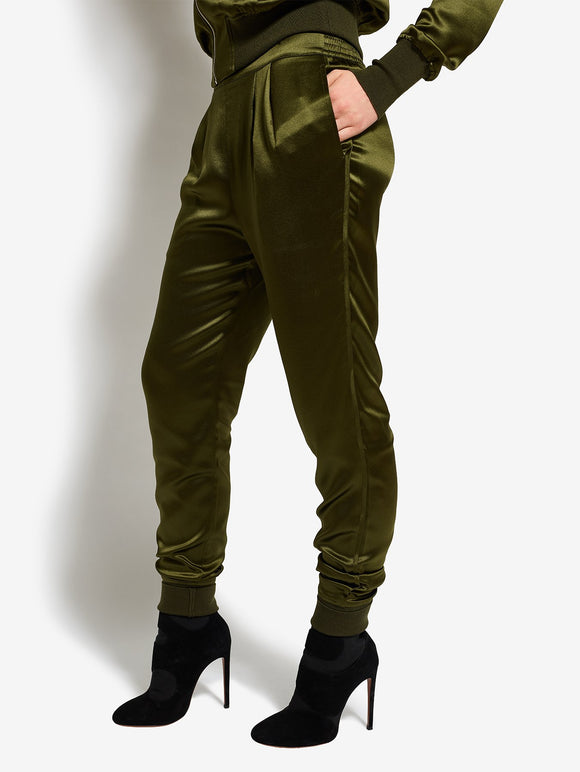 Bruv Club Silk Tracksuit Trousers - Khaki