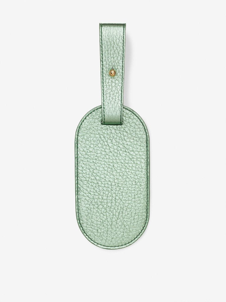 Metallic Leather Luggage Tag Mint