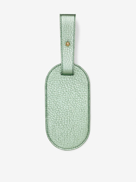 Plain Metallic Leather Luggage Tag Mint
