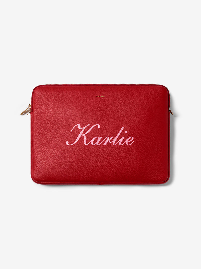 Script Font Leather Laptop Cover