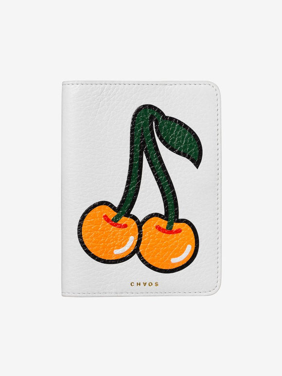 Graphic Yellow Cherries Leather Passport Holder White