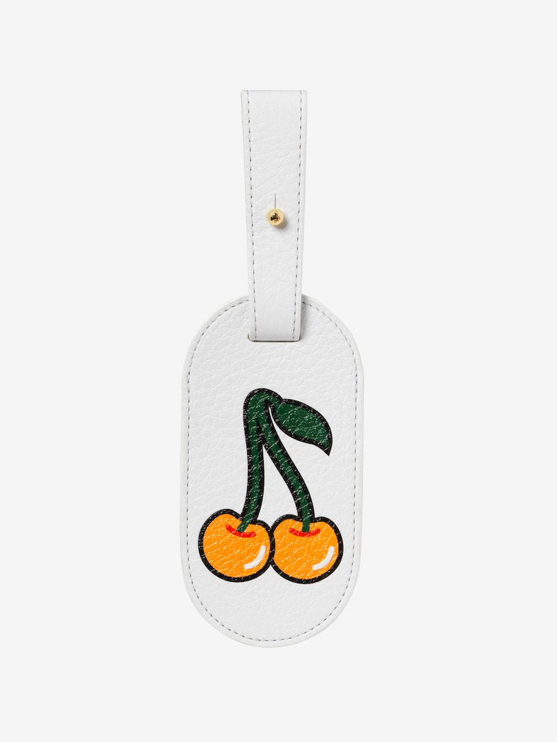 Graphic Yellow Cherries Leather Luggage Tag White
